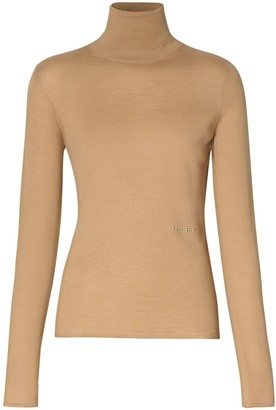 Burberry Embroidered Logo Roll Neck Jumper