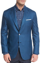 Brioni Solid Silk Two-Button Blazer, Blue