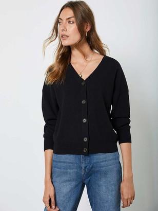 Mint Velvet Button Front Cardigan - Black