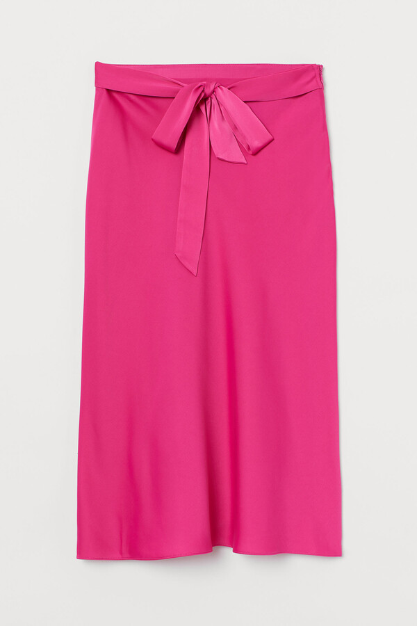 H&M Tie-belt satin skirt