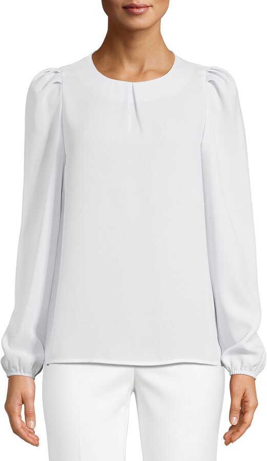 Anne Klein Shirred Shoulder Blouse