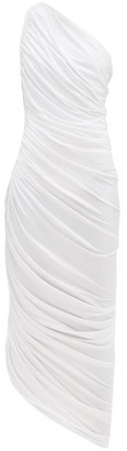Norma Kamali Diana Asymmetric Gathered Jersey Dress - White