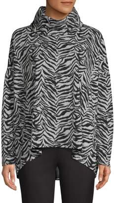 Jones New York Cowl Neck Zebra-Print Sharkbite-Hem Pullover