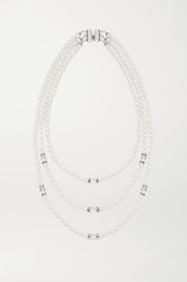 Alessandra Rich Silver-tone, Faux Pearl And Crystal Necklace - White