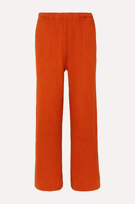 Base Range Baserange - Net Sustain Gita Ribbed Organic Cotton-fleece Pants - Orange