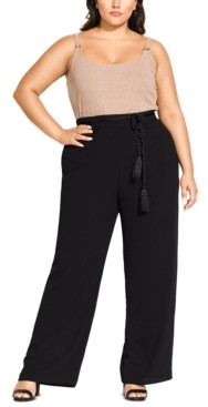 City Chic Trendy Plus Size Belted Palazzo Pants