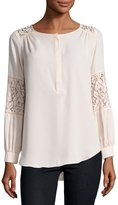 Neiman Marcus Lace-Inset Peasant Tunic, Tan