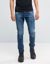 Pull&Bear Skinny Jeans In Medium Wash Blue