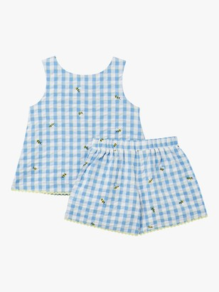Joules Little Joule Girls' Carmel Bee Check Print Vest Top and Shorts Set, Blue/White