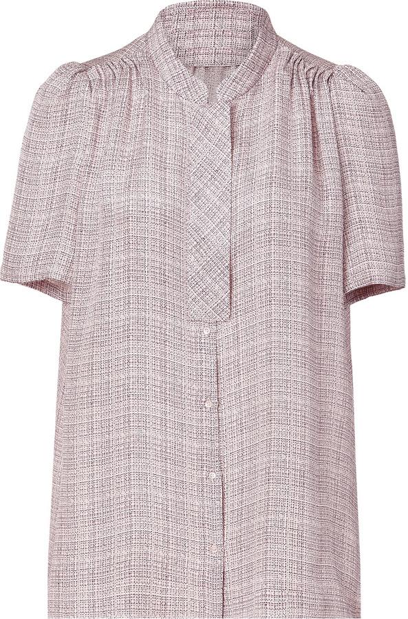 Vanessa Bruno Rose Mini Plaid Silk Top