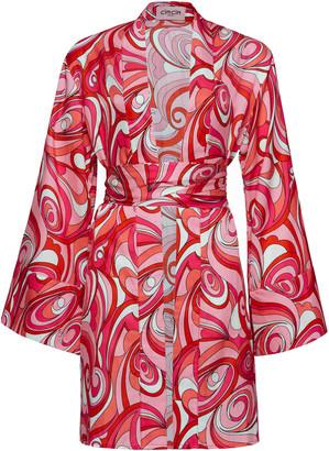Cin Cin Print Cotton-Silk Kimono Robe