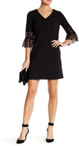 Julia Jordan V-Neck 3/4 Lace Sleeve Shift Dress