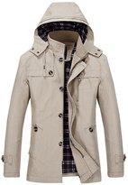 JiaYou Men Buttons ZIP Hooded Cotton Blend Trench Coat Jacket
