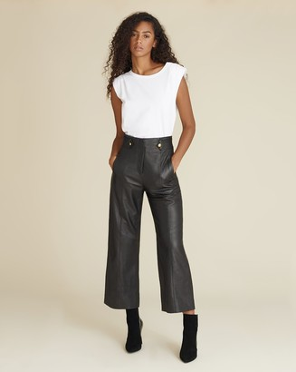 Veronica Beard Agee High-Rise Leather Pant