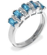 Tatitoto Wedding Women's Ring in 18k Gold with Azure Cubic Zirconia, Size 7, 4 Grams