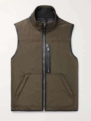 Tom Ford Leather-Trimmed Padded Shell Down Gilet - Men - Green