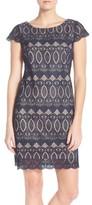 Eliza J Petite Women's Scalloped Lace Sheath Dress