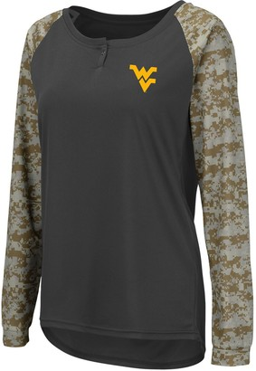 Colosseum Women's Charcoal/Camo West Virginia Mountaineers United We Stand Camo Raglan Long Sleeve Henley T-Shirt