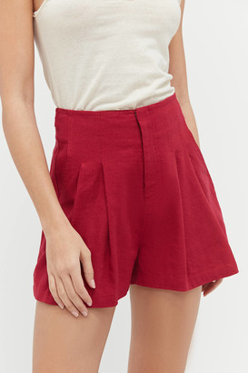 Urban Outfitters Pleated Linen High-Waisted Short