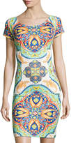 Neiman Marcus Egyptian Floral-Print Short-Sleeve Sheath Dress, Multi Pattern