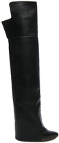 Givenchy Leather Newton Over The Knee Wedge Boots in Black.