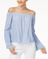 Love, Fire Juniors' Striped Off-The-Shoulder Bell-Sleeve Blouse