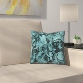 """Shiny Malachite Marble Agate with Glitter Throw Pillow East Urban Home Size: 14"""" x 14"""""""