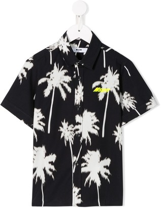 Msgm Kids Palm Tree-Print Cotton Shirt