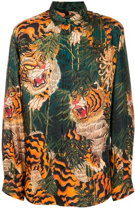 DSQUARED2 Tiger-Print Long-Sleeve Shirt