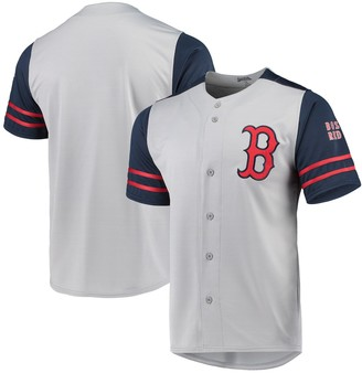 Stitches Boston Red Sox Button-Up Jersey - Gray/Navy