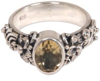 Novica Handmade Sterling Silver 'Wayside Flower' Citrine Ring