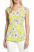 Chaus Women's Tropical Floral Side Pleat Top