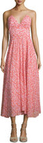 Rebecca Taylor Sleeveless Floral Silk Midi Dress, Red