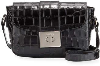 Mario Valentino Valentino By Yasmine Croc-Embossed Leather Shoulder Bag