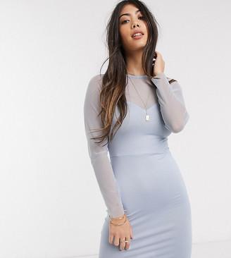 ASOS DESIGN Petite mesh long sleeve cup detail mini dress