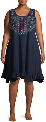 Style&Co. Style & Co. Plus Sleeveless Embroiderd Dress
