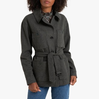 La Redoute Collections Buttoned Utility Jacket with Pockets and Belt