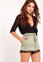 Missguided Silk Lace Hem Shorts Khaki