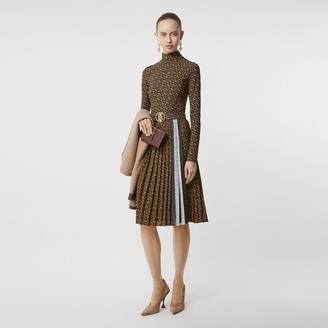 Burberry Monogram Stripe Print Crepe Pleated Skirt