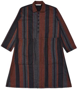 Lanefortyfive Musta2 Women's Coat - Orange Multi-Stripe Tweed