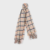 Paul Smith Women's Taupe 'Border' Check Lambswool-Cashmere Scarf