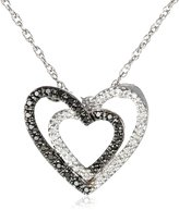 Amazon Collection Sterling Double Heart Black and White Diamond Pendant Necklace (1/10 cttw, I-J Color, I2-I3 Clarity), 18""
