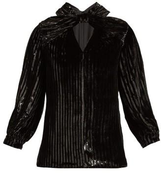Erdem Zadie Striped Velvet Top - Womens - Black