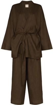 Deiji Studios Kimono-Style Two-Piece Pajama Set