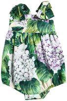 Dolce & Gabbana Hydrangea Cotton Poplin Bodysuit
