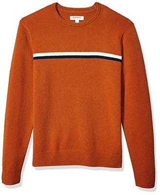 Goodthreads Lambswool Stripe Crewneck Sweater Rust Navy Chest, XXL