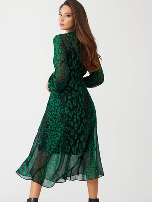 Wallis Abstract Animal Dress - Green