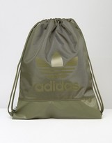 adidas Drawstring Bag In Olive Cargo BK6757