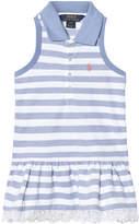 Ralph Lauren Blue and White Sleeveless Pique Dress