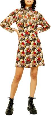 Topshop Lily Empire Waist Long Sleeve Minidress